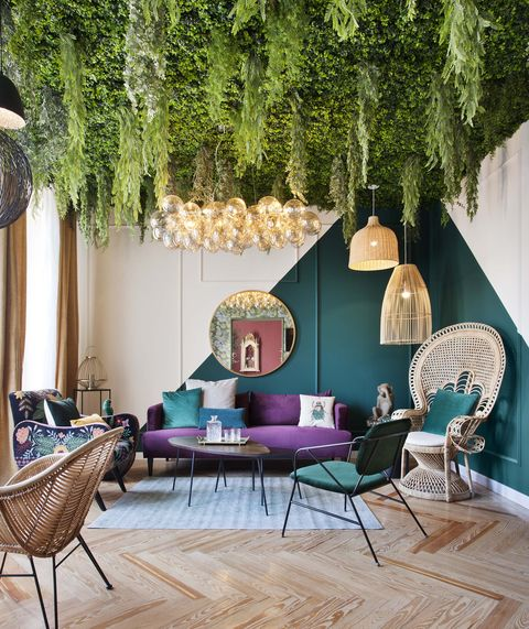 Green, Living room, Interior design, Room, Furniture, Purple, House, Property, Home, Wall,