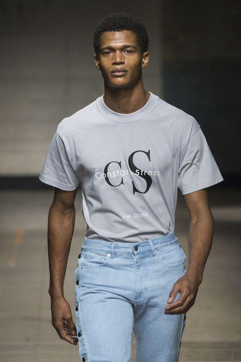 White, T-shirt, Clothing, Cool, Fashion, Jeans, Model, Human, Denim, Neck,