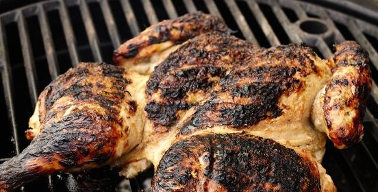 Grill-Roasted Chicken with Lime Butter and Green Beans
