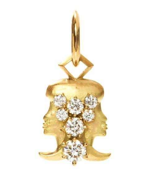 jade trau gemini diamond  18kt gold zodiac charm
