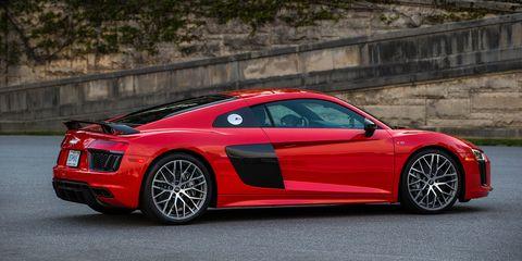 Land vehicle, Vehicle, Car, Automotive design, Supercar, Audi r8, Audi, Sports car, Red, Coupé,