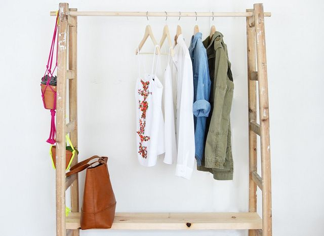 Courtesy of A Pare \u0026 A Spare. A bedroom with no closets ... & 14 Small Bedroom Storage Ideas - How to Organize a Bedroom With No ...