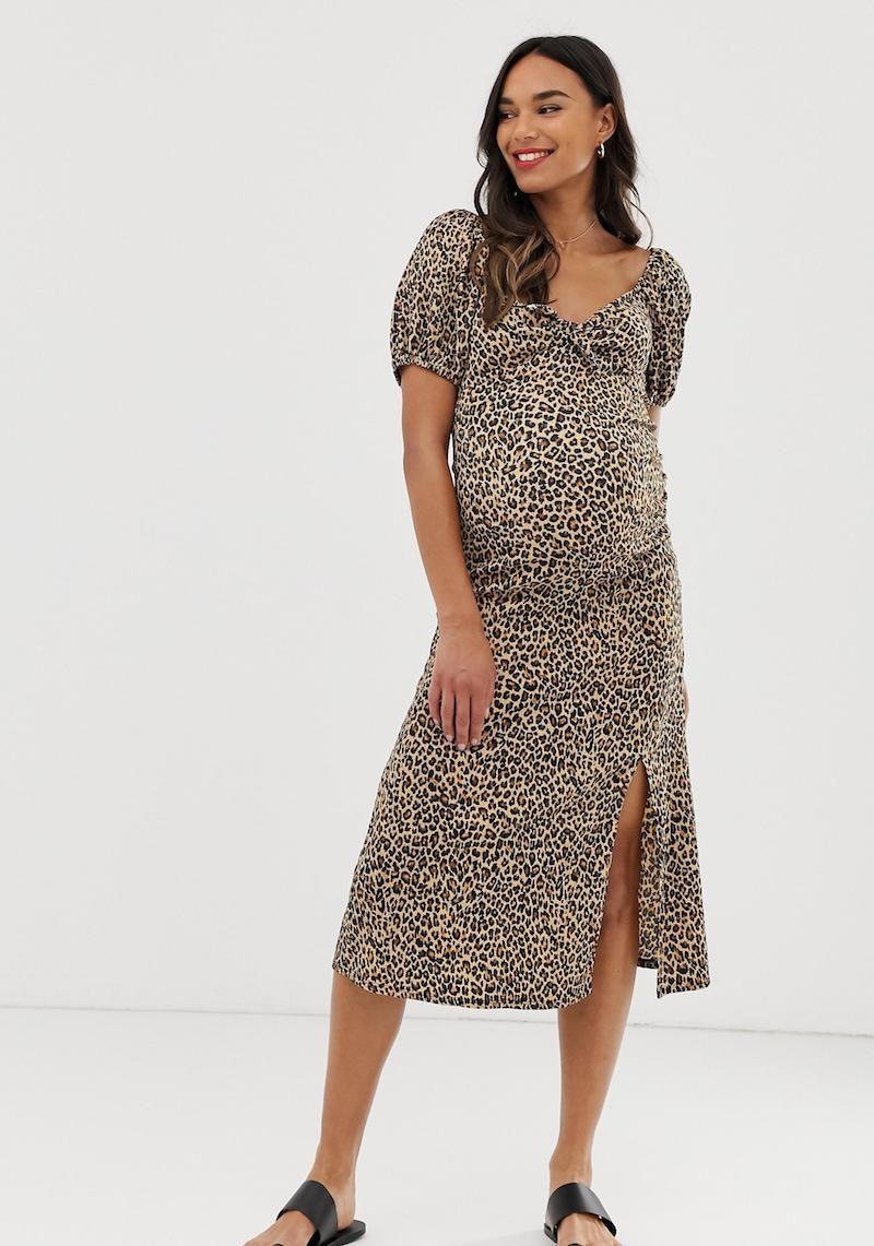 Maternity dress leopard print