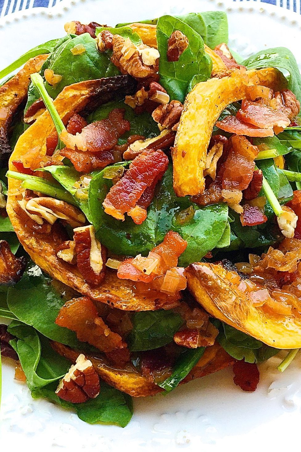 Crispy Butternut Squash Spinach Salad with Bacon-Shallot Vinaigrette vegetable side dish recipe