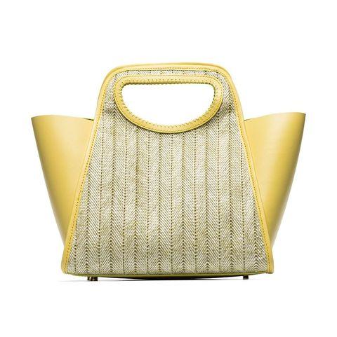 elleme黃色皮革拼接草編手提包