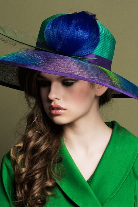 Hair, Hat, Green, Clothing, Purple, Fashion accessory, Costume hat, Turquoise, Hairstyle, Costume accessory,