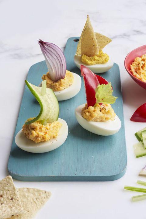 boiled egg recipes - Deviled Egg Sailboats
