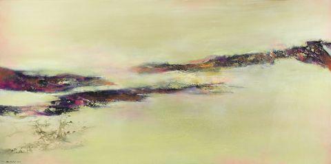 Watercolor paint, Painting, Sky, Bank, Paint, Landscape, Visual arts, Acrylic paint, Art, Artwork,