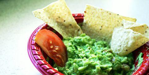 Food, Cuisine, Dish, Guacamole, Tortilla chip, Ingredient, Dip, Totopo, Vegan nutrition, Green sauce,