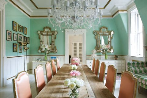 Room, Interior design, Dining room, Ceiling, Pink, Building, Turquoise, Furniture, Chandelier, Home,