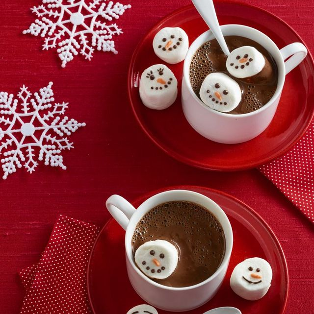 christmas treats in cup of hot cocoa