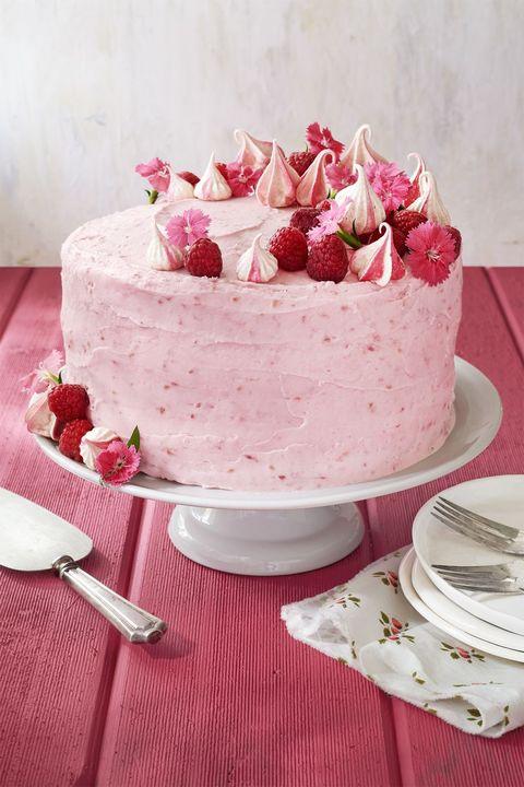 food, cuisine, dish, dessert, buttercream, torte, cake, cream, pink, icing,