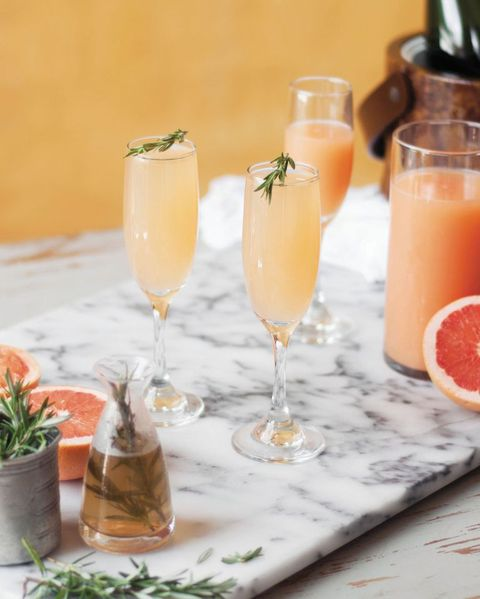 grapefruit and rosemary mimosa -easter cocktails