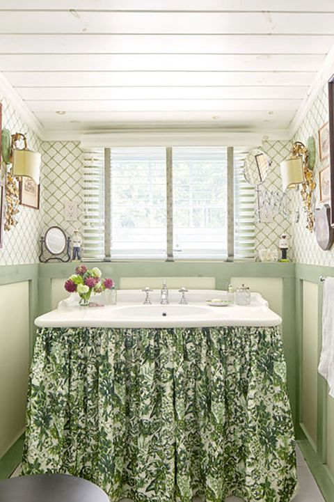 A skirted sink can hide clutter