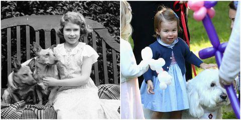 犬が大好きなエリザベス女王とシャーロット王女