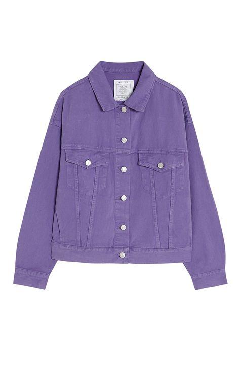 Clothing, Violet, Purple, Sleeve, Outerwear, Button, Collar, Pocket, Jacket, Denim,