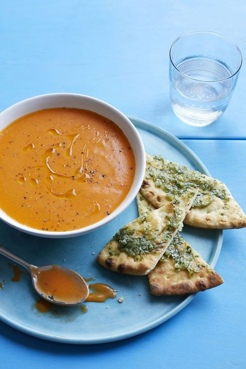 meatless dinner ideas - Spiced Tomato Soup with Flatbread