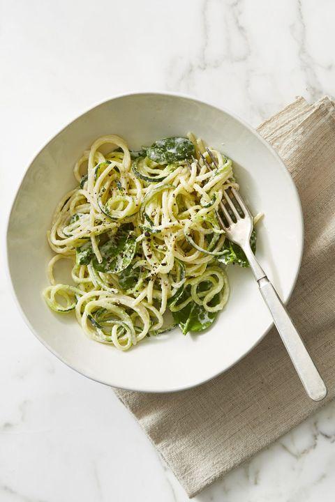 easy zoodle recipes   zucchini noodle creamy spaghetti