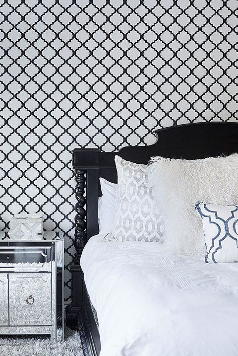 White, Black, Bedroom, Wall, Black-and-white, Room, Furniture, Monochrome photography, Bed, Pattern,
