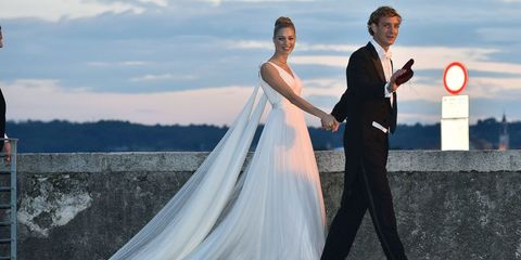Wedding dress, Bride, Photograph, Gown, Dress, Bridal clothing, Wedding, Ceremony, Sky, Marriage,