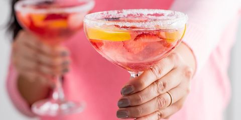 Drink, Pink, Cocktail, Food, Alcoholic beverage, Pink lady, Drinking, Wine glass, Wine cocktail, Sweetness,