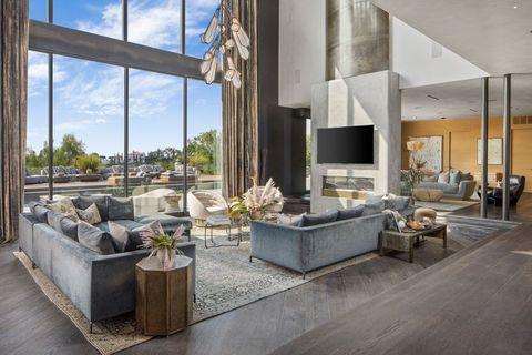 Interior design, Floor, Couch, Living room, Room, Wall, Real estate, Interior design, Coffee table, Grey,