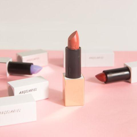 Lipstick, Pink, Cosmetics, Red, Orange, Beauty, Lip, Peach, Material property, Lip gloss,
