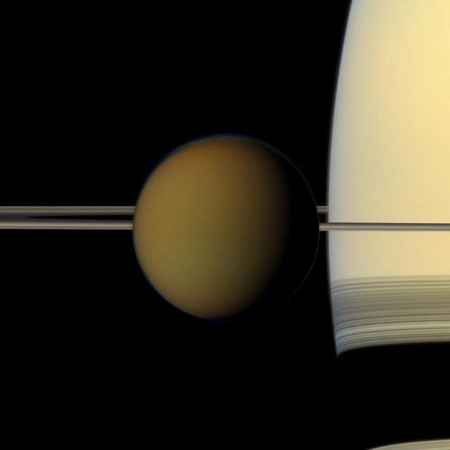 saturn and its moon titan