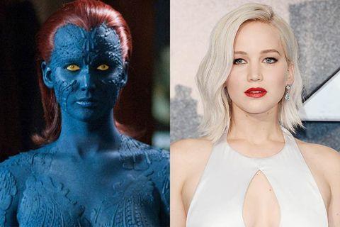 Hair, Face, Blue, Lip, Beauty, Eyebrow, Fashion, Fictional character, Electric blue, Supervillain,