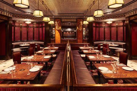Restaurant, Building, Interior design, Room, Architecture, Table, Furniture, Organization, Business,