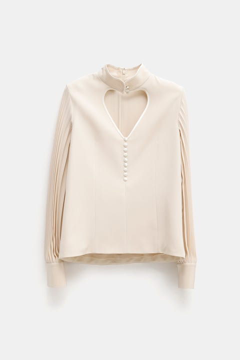 Clothing, White, Sleeve, Outerwear, Beige, Neck, Blouse, Shoulder, Top, Collar,