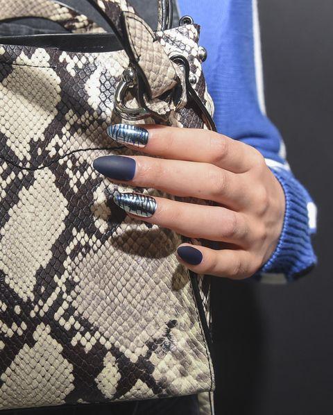 Bag, Handbag, Fashion, Fashion accessory, Design, Street fashion, Pattern, Hand, Material property, Electric blue,