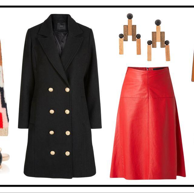 Clothing, Red, Fashion, Coat, Outerwear, Orange, Dress, Footwear, Overcoat, Formal wear,