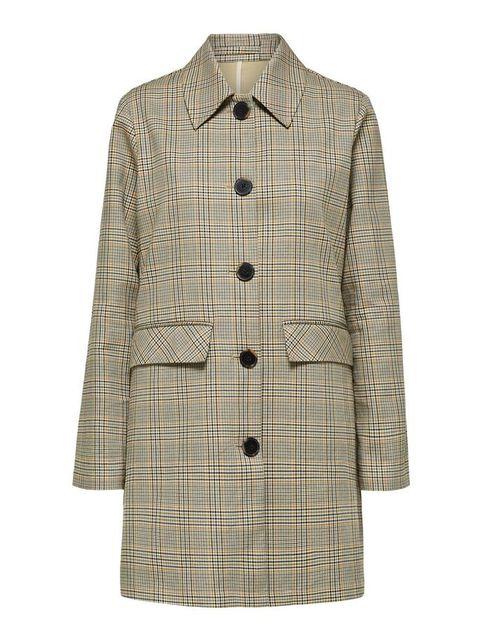 Clothing, Outerwear, Coat, Sleeve, Trench coat, Pattern, Beige, Design, Collar, Tartan,