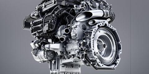 Mercedes-Benz Sechszylinder-Benzinmotor M256  Mercedes-Benz six-cylinder engine M256. Engine cross section