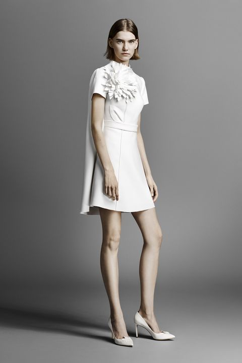 short wedding dress - Fashion model, Clothing, White, Shoulder, Dress, Fashion, Joint, Standing, Sleeve, Cocktail dress,