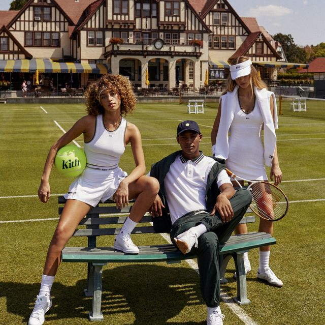 two women and one man on green bench in kith x wilson tennis collection