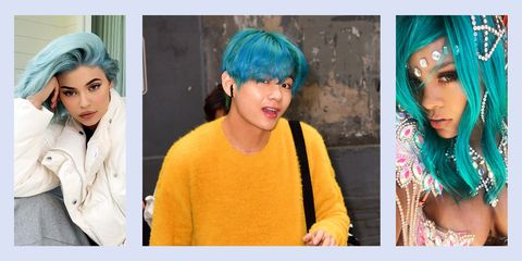 Hair, Face, Blue, Hair coloring, Hairstyle, Turquoise, Head, Yellow, Eyebrow, Beauty,