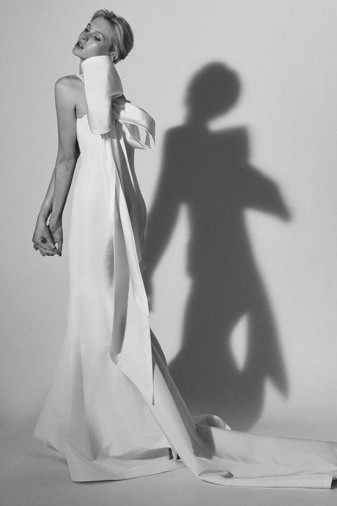 Shoulder, Dress, Standing, Style, One-piece garment, Gown, Art, Day dress, Bridal clothing, Wedding dress,
