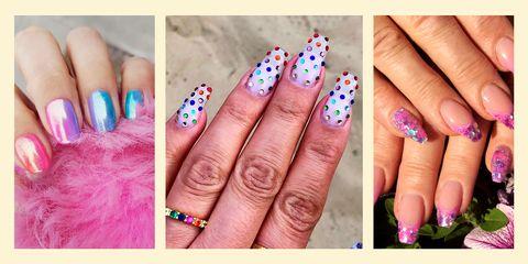 Nail polish, Nail, Nail care, Manicure, Finger, Cosmetics, Pink, Hand, Artificial nails, Service,
