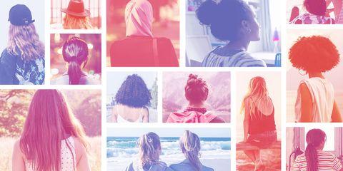 Pink, Hair coloring, Wig, Collage, Lace wig, Long hair, Magenta, Art,