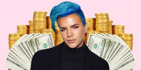 Money, Cash, Hair, Currency, Head, Forehead, Chin, Blond, Saving, Money handling,