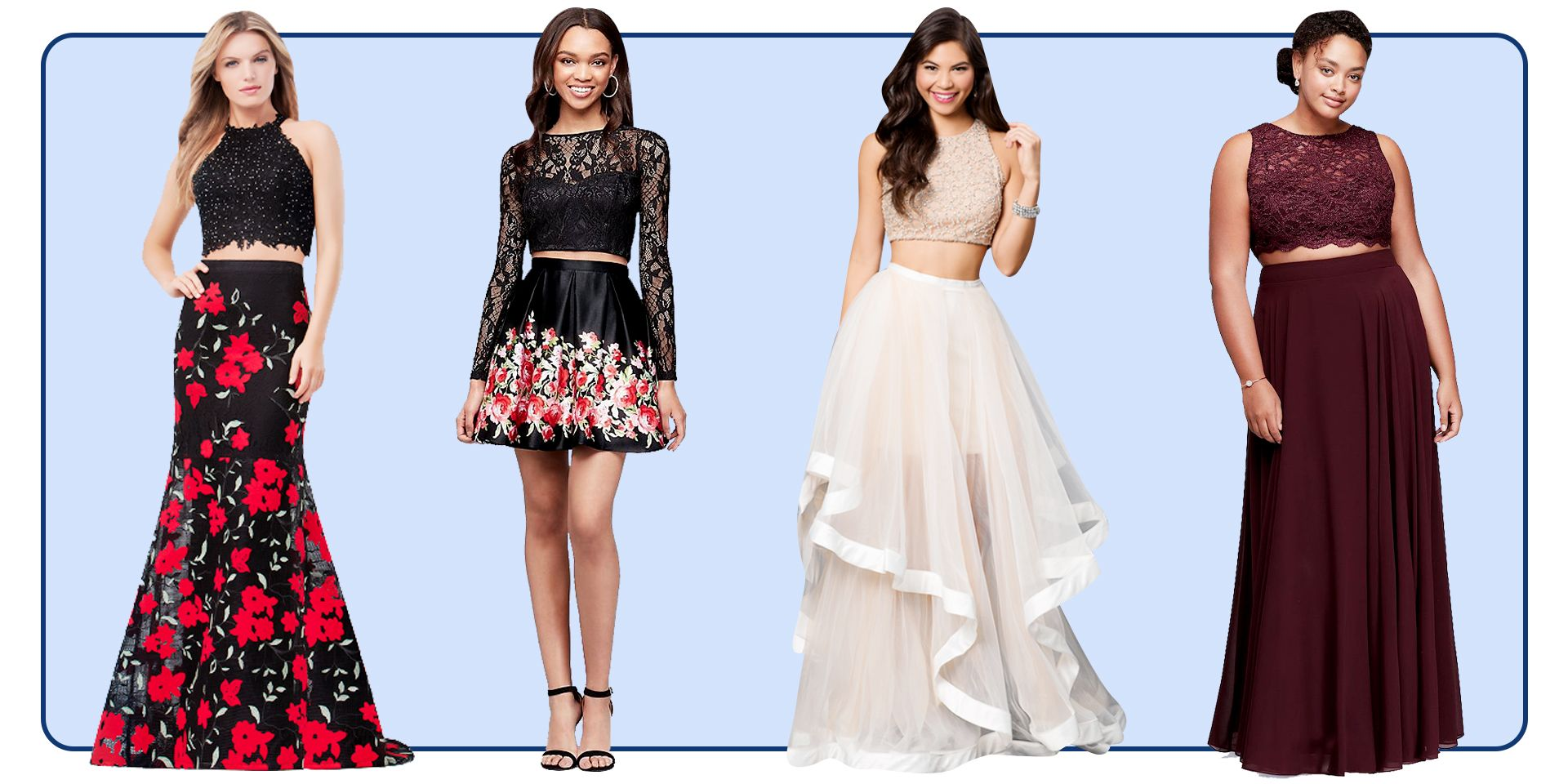 211bef55b47f 16 Two-Piece Prom Dresses So Cute You'll Want to Wear Them to Class