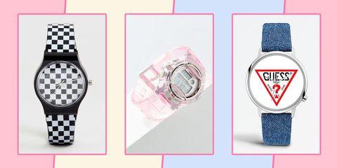 Watch, Analog watch, Watch accessory, Pink, Wrist, Fashion accessory, Brand,