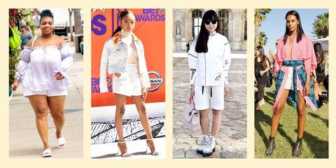 Clothing, White, Street fashion, Fashion, Footwear, Shoe, Shorts, Dress, Outerwear, Fashion model,