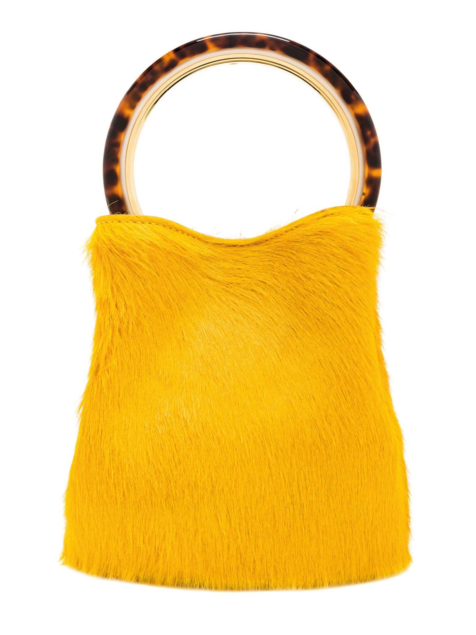Bolso de mano Pannier en pelo amarillo