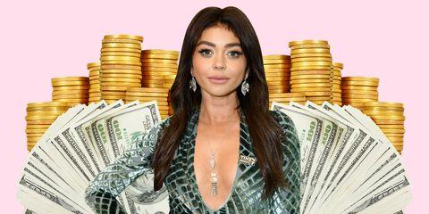 Hairstyle, Money, Saving, Currency, Cash, Long hair, Banknote, Brown hair, Money handling, Paper,