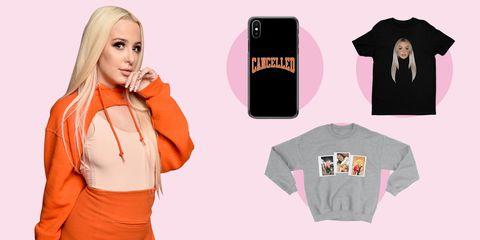 Clothing, T-shirt, Orange, Pink, Sleeve, Outerwear, Peach, Top, Neck, Jacket,