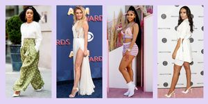 celebs wearing white heels with dresses and pants