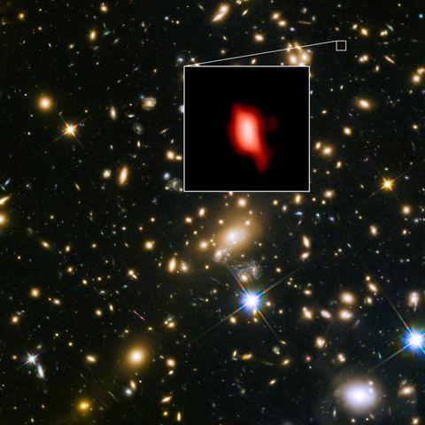MACS1149-JD1, seen as it was 13.3 billion years ago